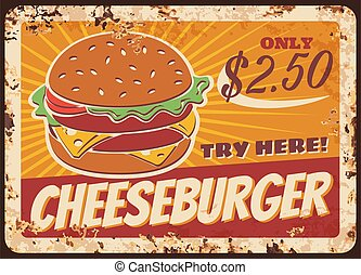 Cheeseburger fast food vector rusty metal plate,