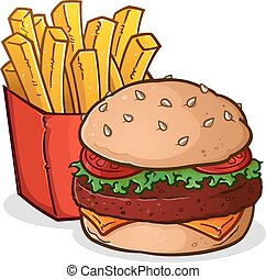A cartoon drawing of a delicious cheeseburger and large box of crispy, golden french fries
