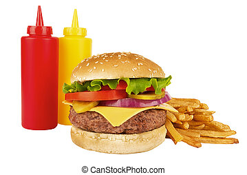 Cheeseburger, french fries, ketchup and mustard bottle, isolated on white background. Real close up.