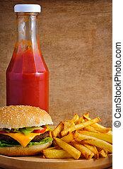 cheeseburger, fries and ketchup