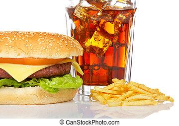 cheeseburger, frigge, francese, soda