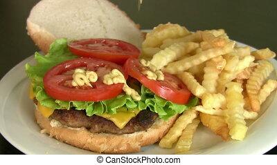 cheeseburger, frire