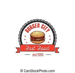 Cheeseburger hamburger fast food cafe vector icon