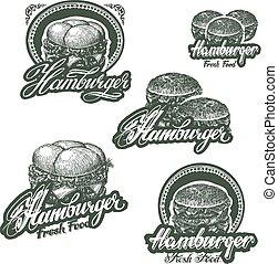 cheeseburger, hamburger, mit, kã¤se