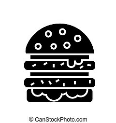 cheeseburger icon, vector illustration, black sign on isolated background