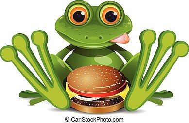 cheeseburger, illustrazione, rana, casato