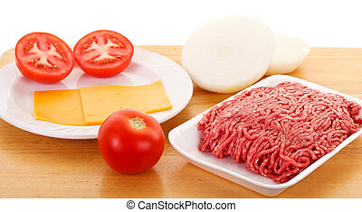 Cheeseburger Ingredients on a Wood Tray