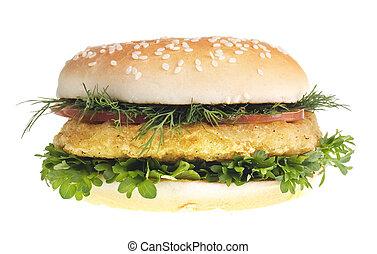 Cheeseburger isolated on white background.