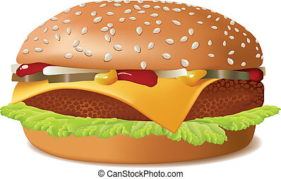 Cheeseburger isolated on white. Fast Food