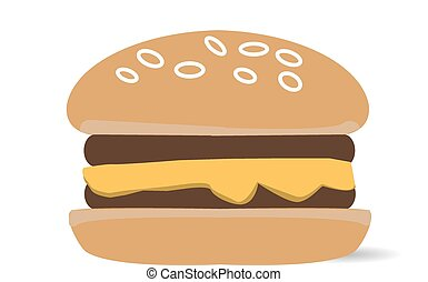 Cheeseburger isolated on white. Vector and illustration
