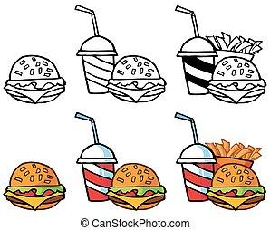 cheeseburger, mit, drink., sammlung