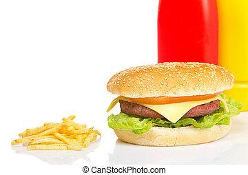 Cheeseburger, mustard, ketchup and french fries