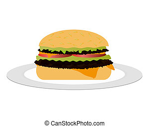 cheeseburger on the plate