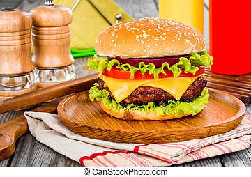 cheeseburger, savoureux, hamburger, appétissant