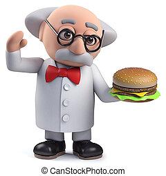 cheeseburger, scientifique, caractère, tenue, 3d