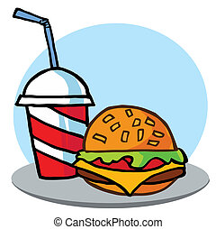 Cheeseburger Served With Cola