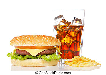 Cheeseburger, soda and french fries