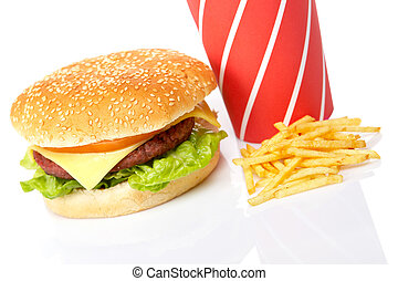 Cheeseburger, soda drinks and french fries