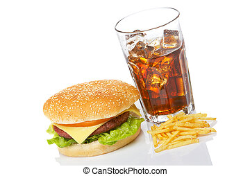 cheeseburger, soda, y, papas fritas