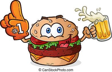 cheeseburger, sport fächelt, karikatur