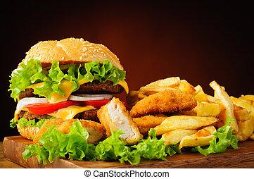 cheeseburger, stege kylling, guldklumper, og, fransk steger