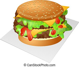 Cheeseburger - Tasty double cheeseburger with lettuce and...