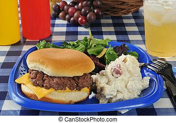 cheeseburger, tavola picnic