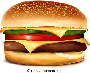 Cheeseburger.  Vector illustration.