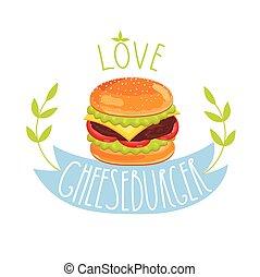 cheeseburger, vektor, weiß, hintergrund