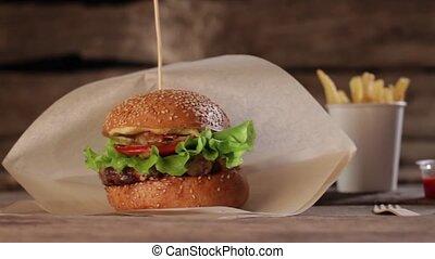 Cheeseburger with cola and fries. Cheeseburger menu on...