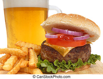 Cheeseburger with french fries and beer - Freahly grilled ...