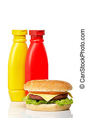 Cheeseburger with mustard and ketchup