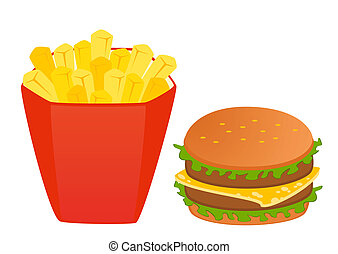 cheeseburger with the pack of french fries on white background