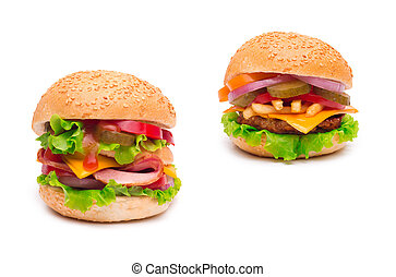 cheeseburgers isolated on white