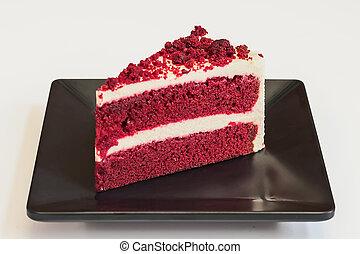 cheesecake., aksamit, czerwony
