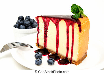 Cheesecake And Blueberries - Plain Cheesecake with a...