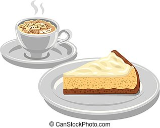 cheesecake and cappuccino