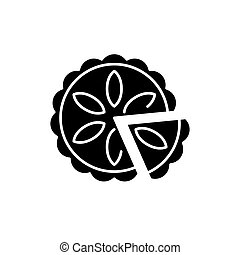 Cheesecake black icon, vector sign on isolated background....