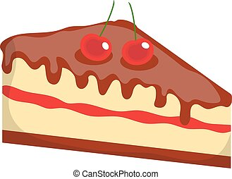 Cheesecake, cake icon, flat, cartoon style.Isolated on white background. Vector illustration, clip-art.