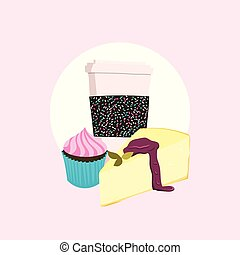 Cheesecake, coffee cup and cupcake. Stock vector