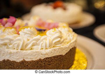 cheesecake, crème fouettée