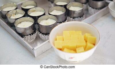 cheesecake cream fill on tart tin - A cream cheese mixture...