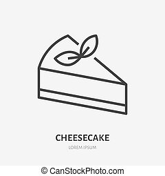 Cheesecake flat line icon. Vector thin sign for confectionery logo. Peace of cake illustration for restaurant menu, sweet food, dessert