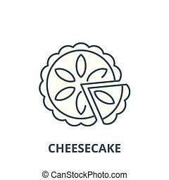 Cheesecake line icon, vector. Cheesecake outline sign, concept symbol, flat illustration