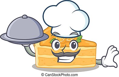 Cheesecake orange as a chef cartoon character with food on tray