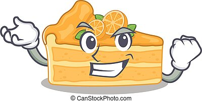 Cheesecake orange cartoon character style with happy face