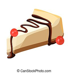 Cheesecake slice with chocolate syrup. VECTOR illustration.