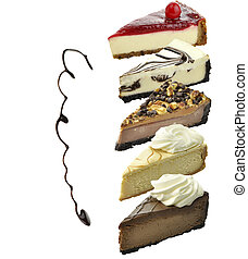 Cheesecake Slices Assortment Isolated On White Background