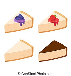 Cheesecake slices set with different toppings. Fruits and...