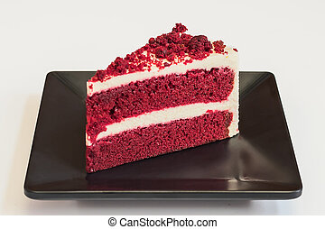 cheesecake., terciopelo, rojo